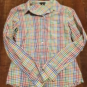 Theory bright plaid button up small shirt